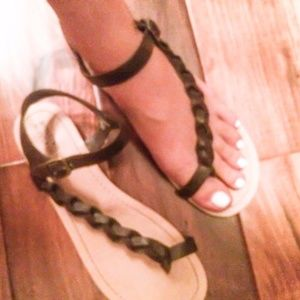 Mossimo Brown Faux Leather Braided Strappy Sandals