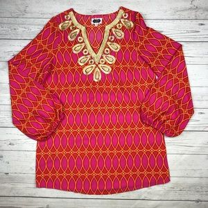 Mud Pie Bell-Sleeve Gold Embroidery Pattern Tunic
