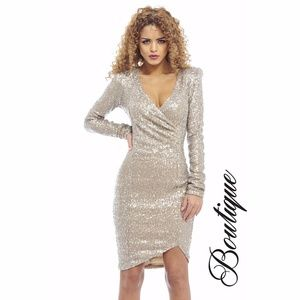 [Ax paris]  Sequin long sleeve NYE dress