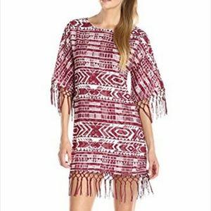 Sam Edelman Cheyenne Fringed Beaded Poncho Dress