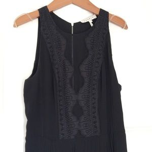 Sandro Dress with Lace Detail and Pleated Skirt