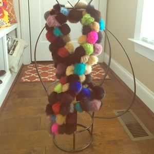 🆕 Unique Vintage Multi Colored PomPom Scarf