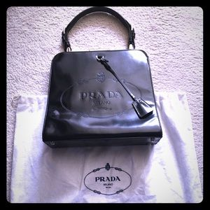 Prada Black Framed Satchel Kisslock Spazzolato Bag