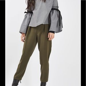 TOPSHOP grommet detail pleated pants army green