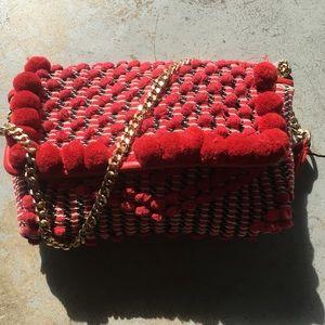 Zara red pom pom ethnic shoulder bag