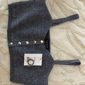 Topshop navy knit crop