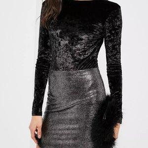 Black Crushed Velvet Bodysuit Longsleeve Nugoth M