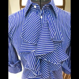 Ralph Lauren Blue & White stripe Button Down Sz 6
