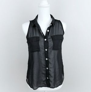 Black Sheer Lightweight Chiffon Sleeveless Shirt M