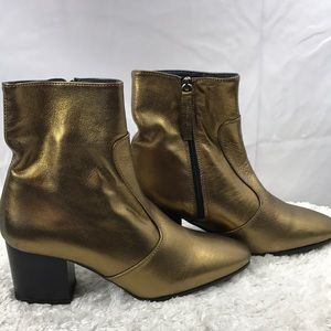 Topshop Mustard/Gold Western Boots