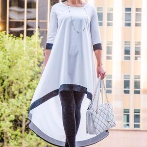 Dresses & Skirts - White Round Neck Contrast Trims High Low Dress by