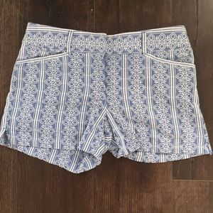 LOFT Blue Cotton Color with White Embroidery Short
