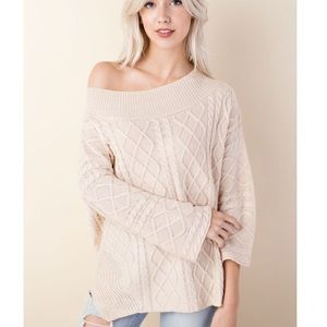 🆕Daisy Cream Off the Shoulder Cable Knit Sweater