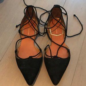 Zara Black Suede Lace Up Flats