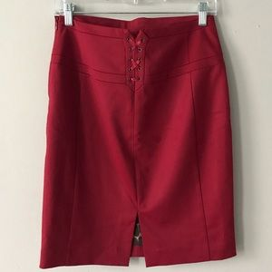 Express Red Satin Pencil Skirt