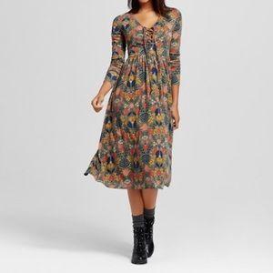 Xhilaration Lace Up Midi Dress Size Large