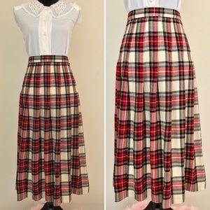 Vintage 70s Talbots Red Pleated Plaid Tartan Skirt