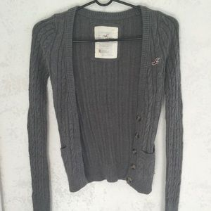 Grey Hollister partial rabbits fur sweater.