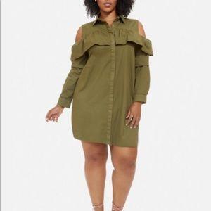 NWT Plus Size Cold Shoulder Ruffle Dress