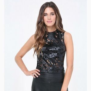 Bebe terra faux leather coated lace black top SM