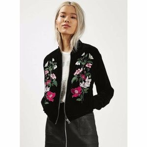 NWT Topshop Velvet Embroidered Bomber Jacket