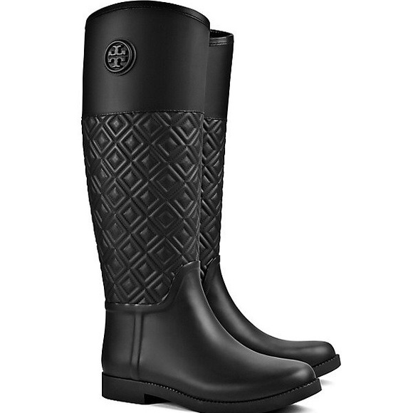 9d605559a Tory Burch Quilted Rubber Marion Rain Boots Size 8