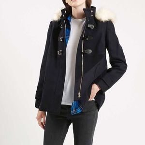 Topshop faux fur hooded coat