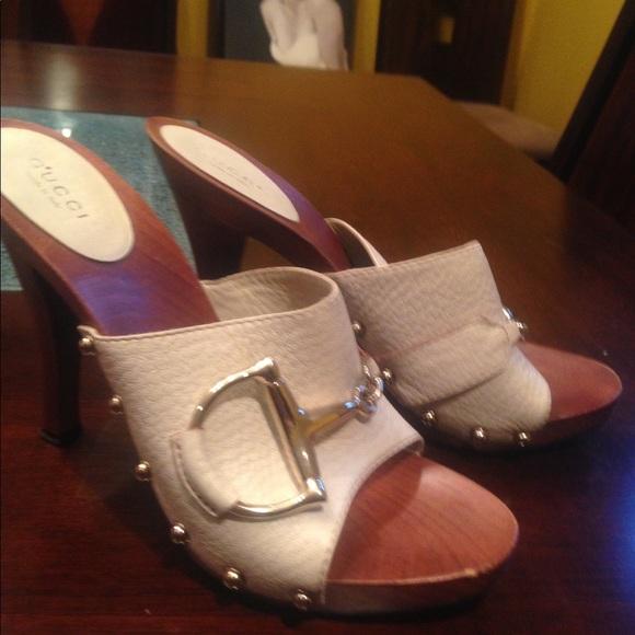 ef6c55421b2 Gucci Shoes - Gucci Wood Horsebit Clog 37.5 white leather