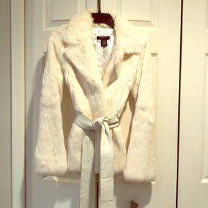 Arden B white fur jacket