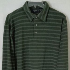 Dockers Green Striped Polo Shirt Large #34