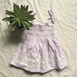 Janie & Jack Lavender Gingham Embroidered Dress