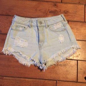 High waisted distressed denim shorts 4