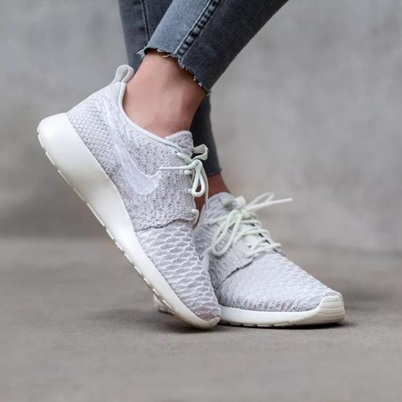 size 40 d49ea 3d7da Women s Nike Roshe Run Flyknit Sail White Sneakers