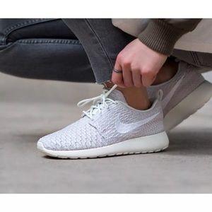 low priced 867f9 fe045 Nike Shoes - Women s Nike Roshe Run Flyknit Sail White Sneakers