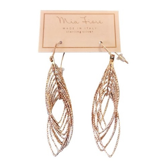 Mia Fiore Jewelry Rose Gold Finish Sterling Silver Drop Earrings