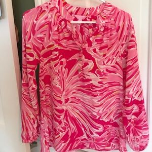 Lily Pulitzer long sleeve silk blouse