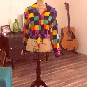Color block crop blouse