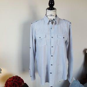 American Rag tab sleeve button down, EUC