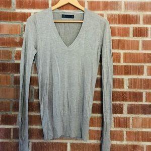 Zara Gray V-neck Sweater