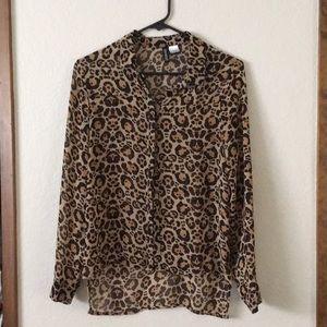 H&M hi-low leopard button down shirt