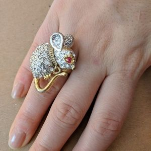 Betsey Johnson Mouse Ring, Size 7