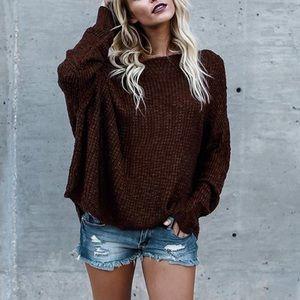 Oversized Off Shoulder Loose Knit Sweater Burgundy