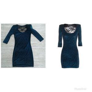 Brian Lichtenburg Blue Glitter Back Lace Dress