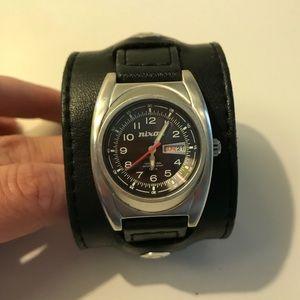 Nixon black leather cuff watch