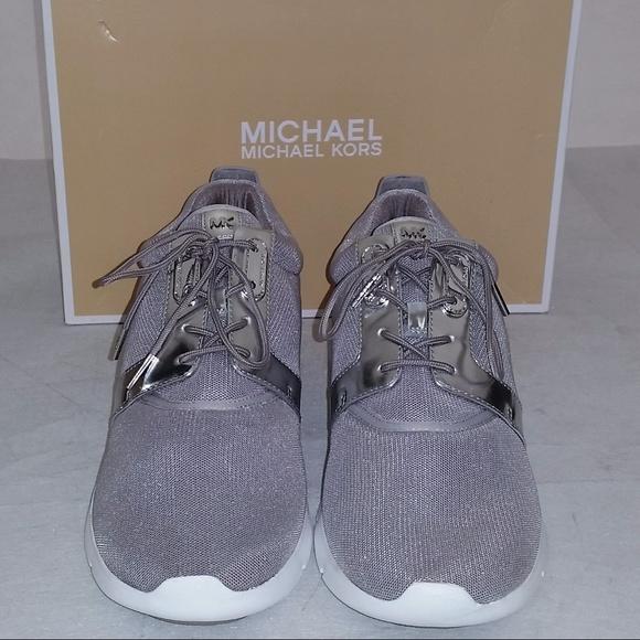 77427ed8085a7 Michael Kors Amanda Trainer Mesh Silver Shoes NEW