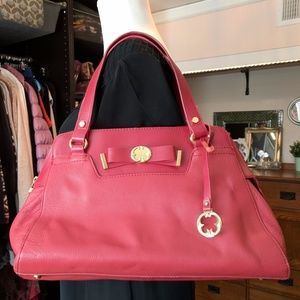 Emma Fox Red Leather Top zip Satchel Yellow Floral