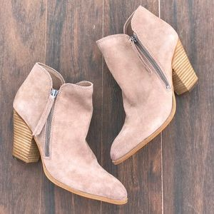 Almond Suede Double Zip Ankle Boots