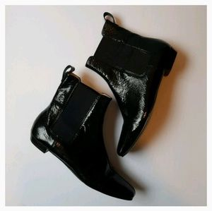 Michael Kors patent leather chelsea ankle boot