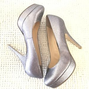 Enzo Angiolini easmiles silver glitter pumps heel