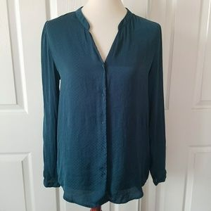 H&M Teal Blue Button Up Blouse Tunic 6